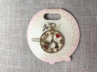日本迪士尼髮夾 愛麗斯 Alice 時鐘。兔子 款