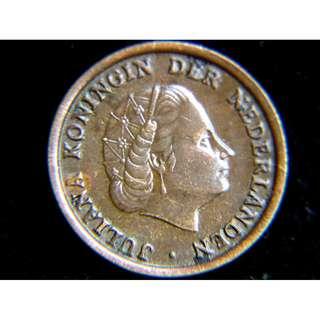 1950年荷蘭王國(Kingdom of Netherlands)荷女皇朱莉安娜像1仙銅幣(新女皇)