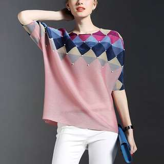 (More cols) Issey Miyakii Inspired pleAted pattern edit Blouse