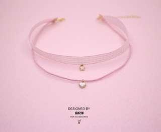 粉紅格子雙層頸鍊