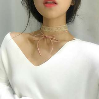 粉紅蕾絲綁帶雙層頸鍊