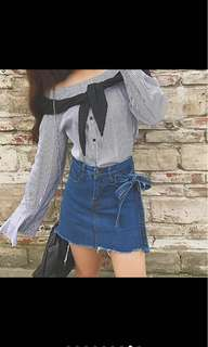 Denim high waist skirt