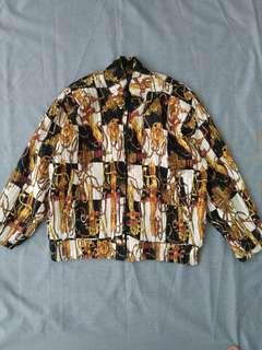 Jaket silk pleats hermes chanel versace look a like