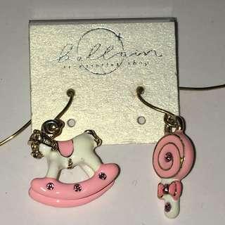 日本甜美旋轉木馬糖果耳環