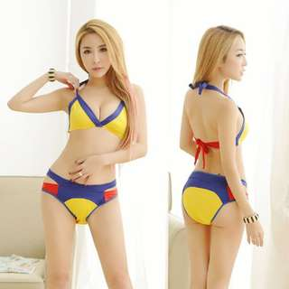 TCWK Sexy Women Yellow Bikini Set Cotton Lingerie Nightwear E527