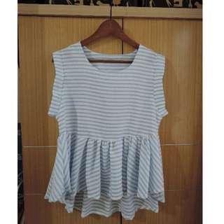 🚚 韓版 可愛條紋娃娃裝前長後短上衣-水藍 #一百元上衣
