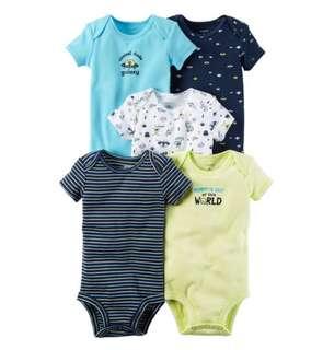 *12M & 18M* Brand New Carter's 5-Pack Short Sleeve Bodysuits For Baby Boy (