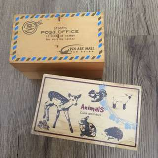 2 boxes of rubber stamps