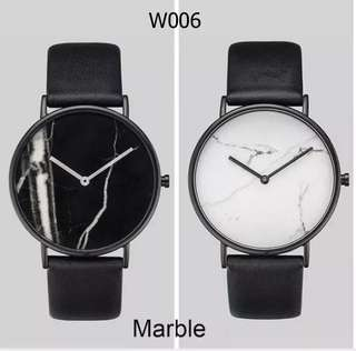 Vintage Marble Dial Quartz Wrist Watch with PU Leather Strap [Code W006]