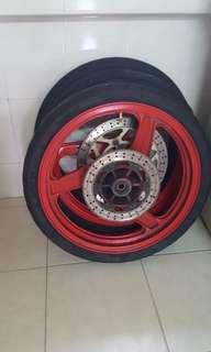 Kawasaki krr/kr rims/tyres/wheels