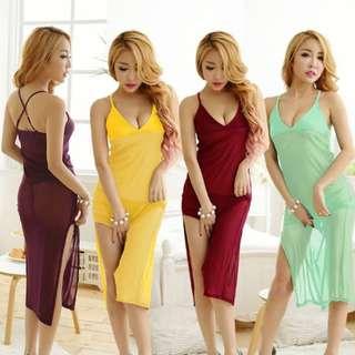 TCWK Sexy Women Transparent Long Dress Lingerie G-string 4 Colours E522