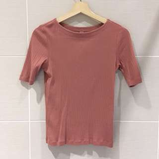 Uniqlo Salmon Pink Ribbed Top