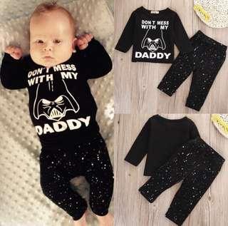 [INSTOCK] Baby Boy Girl Unisex Starwars Pyjamas Don't Mess With my Daddy