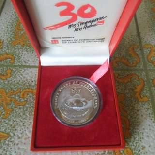 1995 Singapore 30 Years of Independence SG30 $5 Silver Proof Coin