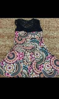 Black lace colorful dress