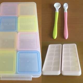 嬰兒副食品分裝盒2個+寶寶湯匙2隻+保存名人8格入
