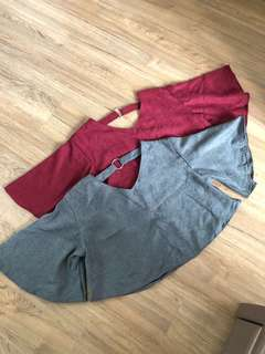 NEW! Flare top in maroon & grey