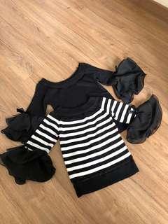 NEW! Stripes & Black hand-ruffle top