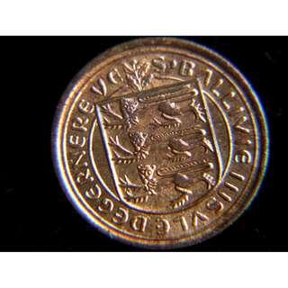 1971年英屬根西島(Guernsey)三獅島徽1/2便士銅幣(新幣制後首批,原光好品)