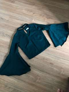 New! Chocker Flare top in Green