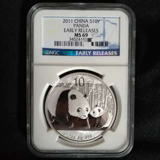 2011 1oz Silver Panda Coin MS69