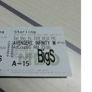 Avengers Infinity War - Movie tickets -  5.5.2018 - 8.30pm show - MBO STARLING MALL - couple seats - BIGCINEMA HALL