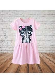 👭 little cat pink dress