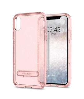 Bnib IPhone x spigen glitter case rose with temped glass