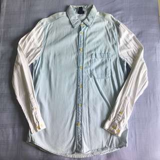 H&M Mens L/S Washed Denim & Cotton Shirt