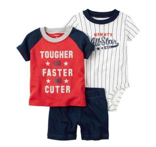 *18M* BN Carter's 3 Piece Bodysuit and Shorts Set For Baby Boy