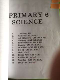 Primary 6 Science Assessment Paper (Various School) *To be Expire On 7th May*