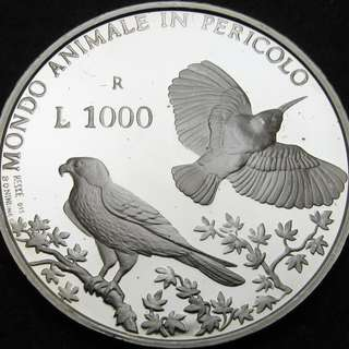 SAN MARINO 1000 Lire 1993R Proof - Silver - Wildlife Protection