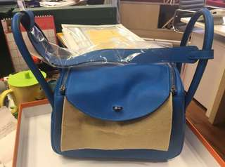 Hermes Lindy 26 blue hydra Clemence leather