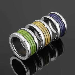 Sliver hardware colored ring unisex