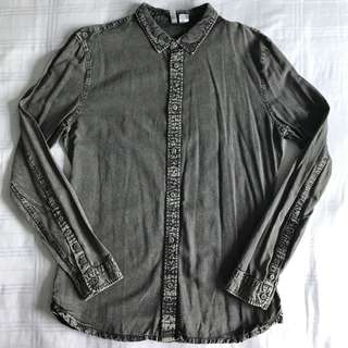 H&M Black Washed Denim L/S Shirt