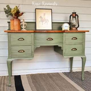 Vintage Provincial Olive Green Desk or Dresser with Timber Top