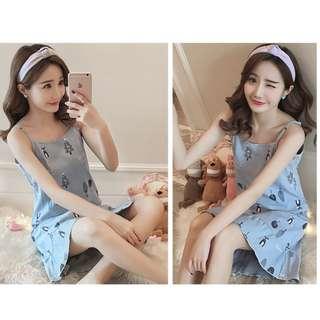 Summer Sleeveless  Cotton Sleepwear,  size : M to XXL ( Design 1)