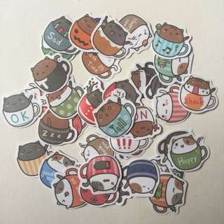 Cats in a cup cute flake stickers