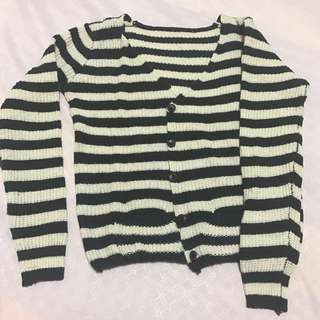Knitted Cardigan (Navy and cream stripes)