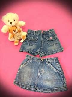 Hot pants and mini skirt for kids