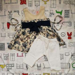 Floral Korean Style Dress With Pants For 3-6 Months