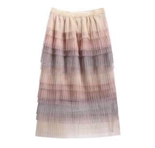 PO - Sweet Colored Layered Tulle A-line Tiered Long Skirts Elastic Waist Gradient Color Mesh Below Knee Tutu Skirts (2 colors)