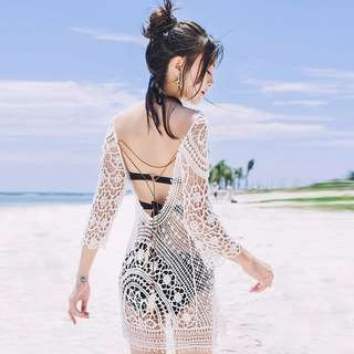 Instock Lace crochet beachwear cover up