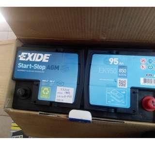 EXIDE AGM  EK950 汽車電池 Start-Stop 啟停系統車輛專用 艾克塞德原廠雙B指定大廠歐洲電池