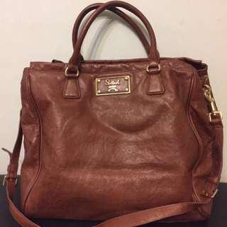 90% New!  Salad Brown Leather Bag