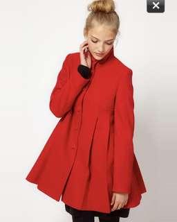 New ASOS pleat swing front coat wool blend