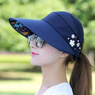 Dark Blue Sun Hats for Women Wide Brim UV Protection Summer Beach Visor Cap