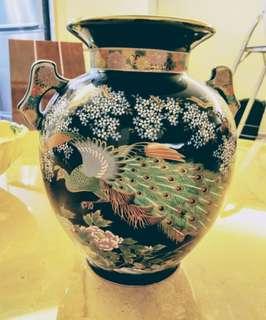 全新~日本陶藝孔雀飾瓶