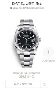 Rolex Datejust 36 black Oyster 116200