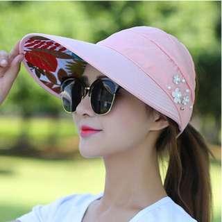 Pink Sun Hats for Women Wide Brim UV Protection Summer Beach Visor Cap